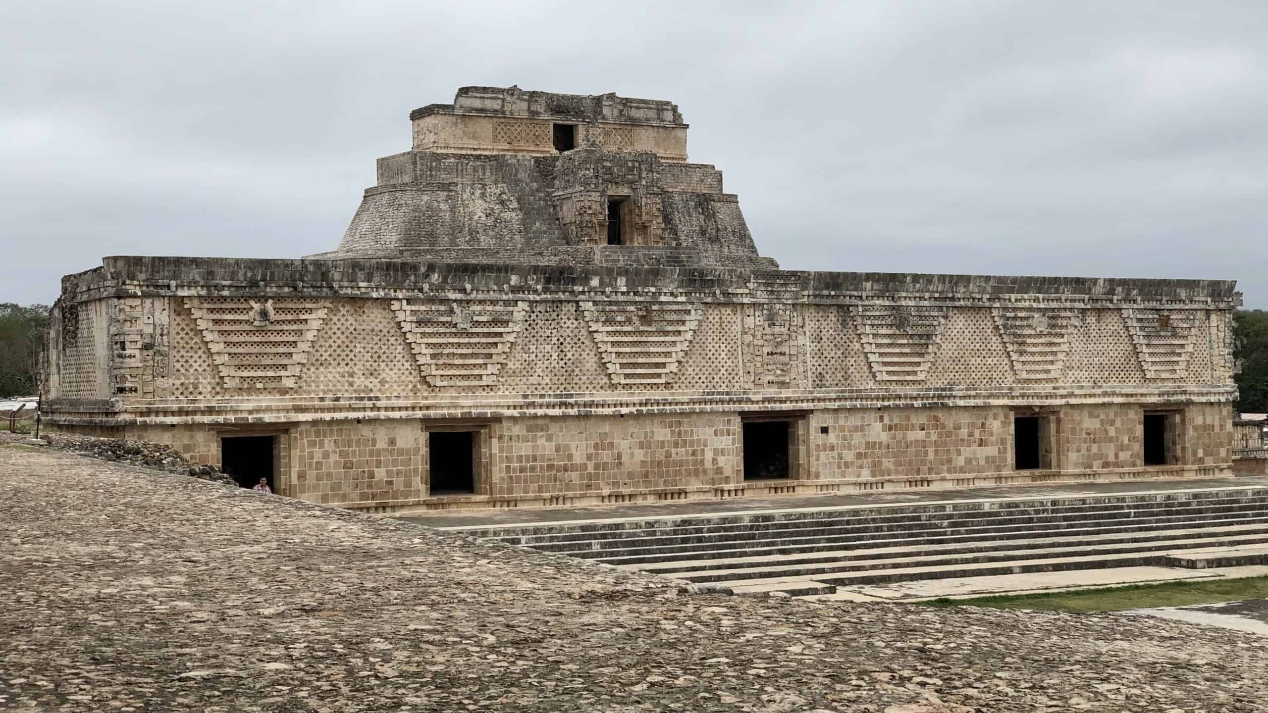 Uxmal: one side of the Quadrangle of the Nuns and the Pyramid of the Magician in the background