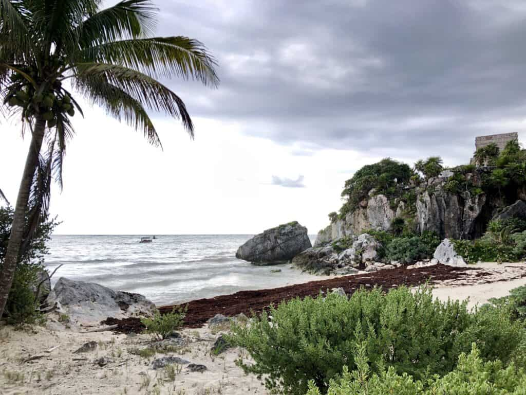 Tulum beach, Temple of the God of Wind in the background